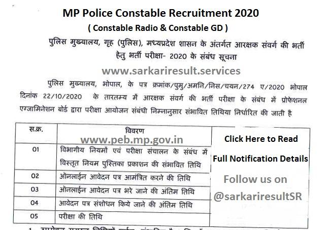 mp police constable recruitment 2020