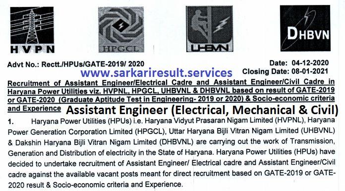 hvpnl assistant engineer recruitment 2020